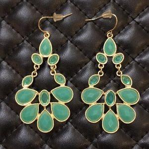 Anthropology Gypsy Boho Gold Emerald Gem Earrings